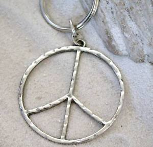 - Pewter Hammered Peace Sign Large Keychain Key Tag