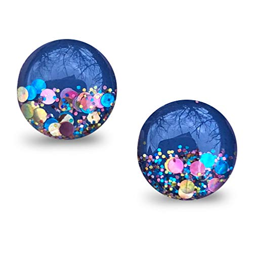 (GraceCode Earring Studs for Women Girls ❤Colorful Life❤ Mothers Day Birthday Gifts Ideas for Her Mom Christmas, Hand Painted with Rainbow Glitter Ear Studs)