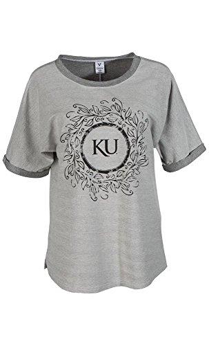 Official NCAA University of Kansas Fighting Jayhawks KU ROCK CHALK Women's Boyfriend-Fit Stylish Tri- Blend Short Sleeve O-Neck Soft Premium Tee shirt (Mexico Cap Sleeve Womens T-shirt)