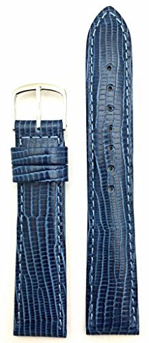 18mm Blue Genuine Leather Watch Band   Tail Lizard Grained, Lightly Padded Replacement Wrist Strap That Brings New Life to Any Watch (Mens Standard Length)