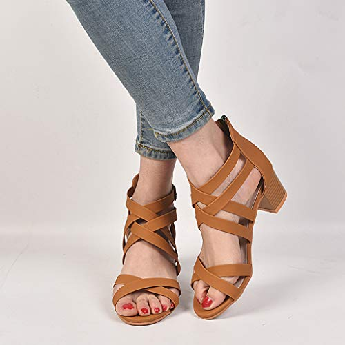 CCOOfhhc Womens Gladiator Open Toe Heeled Sandals Criss Cross Strap Ankle Wrap Zipper Sandals Summer Beach Thongs Sandals Brown by CCOOfhhc (Image #4)