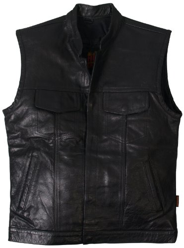 eavy Weight Leather Vest (Black, X-Large) ()
