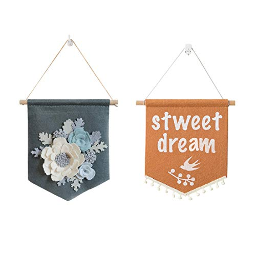 - Wall Display Banner, 2 Pieces Hanging Tapestry Wall Art Home Decoration Arras Felt Flowers Fabric Flower Embellishments Crafts Decor Banner(2mix)
