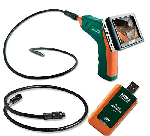 Extech BR250-BR200EXT Extech BR250-BR200EXT Flexible Video Borescope 9mm diameter 1m cable and 38' Borescope Extension Cable and Wireless USB Video Stream Receiver