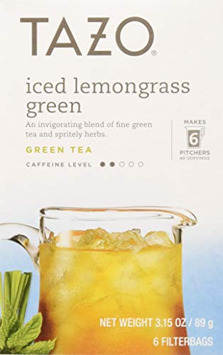 Tazo Tea Bag, Iced Lemongrass Green, 6 Count, Pack of 4 (Packaging may vary) (Tazo Organic Iced Tea)