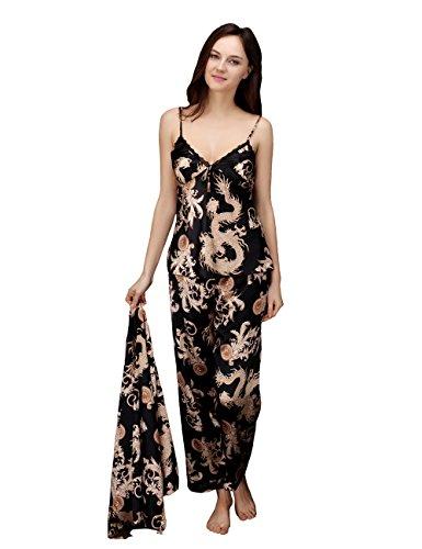 YoHoo Women's Silk Pajamas 3 Piece Sleepwear Set (Black)Tag M=US S