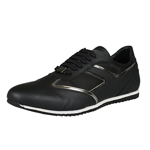 Versace Collection Black Leather Fashion Sneakers Shoes US 9 IT 42;