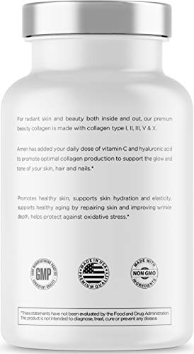 418X%2BdVHO6L - Amen Multi Collagen Pills with Hyaluronic Acid and Vitamin C, 5 Type Hydrolyzed Collagen Protein Peptides, Types I II III V X, 30 Servings, 90 Capsules