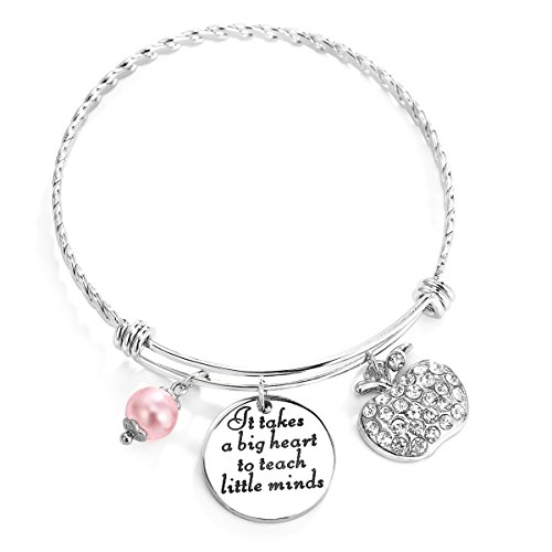 Best Teacher Gift - ELOI Teacher Appreciation Gift It Takes a Big Heart to Teach Little Minds Bracelet Bangle Thank You Gifts
