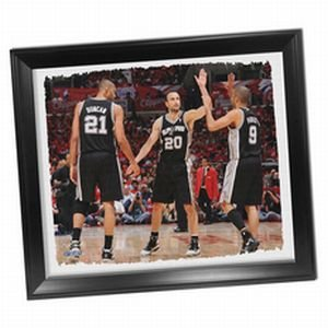 San Antonio Spurs Tony Parker ''Big Three High Five'' Stretched 22x26 Framed Canvas by Steiner Sports