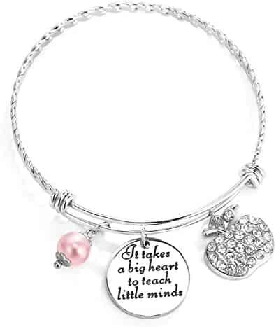 ELOI Teacher Appreciation Gift It Takes a Big Heart to Teach Little Minds Bracelet Bangle Thank You Gifts by