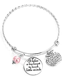 Teacher Appreciation Gift It Takes a Big Heart to Teach Little Minds Bracelet Bangle Thank You Gifts