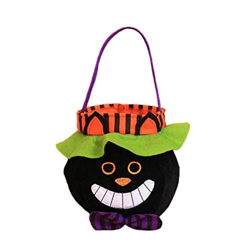 Halloween Trick or Treat Bags - Reusable Candy Totes Party Favor Bags - Halloween Kids Doll Candy Sweet Jar Box Children Storage Cans Party House Decor by Lotus.Flower (Black - Cat Bags Black Treat