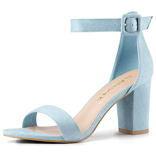 Allegra K Women's Chunky High Heel Ankle Strap Sandals (Size US 6) Sky Blue
