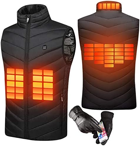 Heated Vest Electric USB Charging Warm Heated Jackets for Women Men with 5 Heating Pads Winter Activities (No Battery)