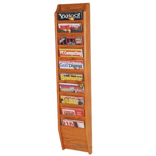 Wooden Mallet MR48-10 Oak 10 Pocket Vertical Wall-Mounted Magazine Rack in Medium Oak