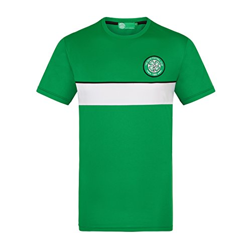 Fc Training Kit (Celtic FC Official Gift Mens Poly Training Kit T-Shirt Green White 3XL)