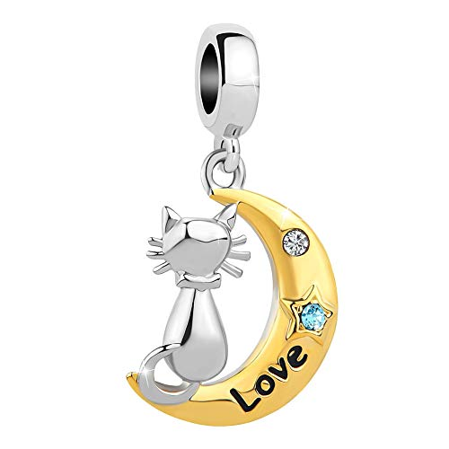 LuckyJewelry I Love You to The Moon and Back Star Cute Cat Charm Beads for Bracelets