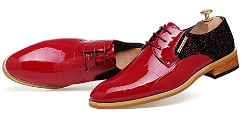Charol Cuero Casuales Zapatos red Señalados Groom Zapatos De Zapatos De Boda Peluquería Nightclub De Negocios HYLM De Inglaterra Hombre 48wRRq
