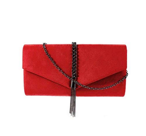 (EIOZUR Red Suede Clutch Decorated with Metallic Tassel)