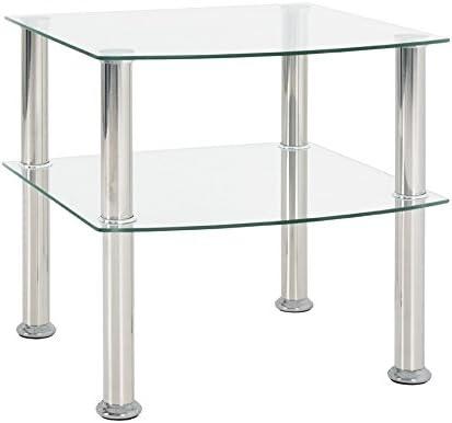 Haku Möbel 15208 mesa auxiliar, acero inoxidable, vidrio 5 mm ...