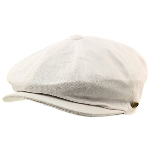 (Men's 8 Panel Solid Plain 100% Cotton Snap Newsboy Drivers Cabbie Cap Hat X-Large White)