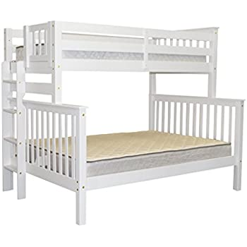bedz king bunk beds twin over full mission style with end ladder white