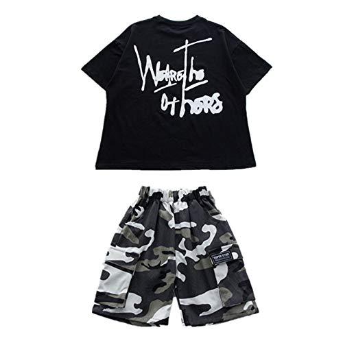 湿気の多い主張研磨Meet You ダンス衣装 キッズ ヒップホップ 子供用 男の子 女の子 tシャツ パンツ ジュニア ジャージ セットアップ HIPHOP ジャズダンス ジャズ ステージ衣装 ブラック 選べる2タイプ