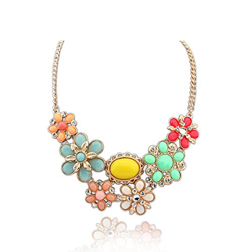 Mosunx(TM) Women Jewelry Multicolor Crystal Vintage Exaggerated Flower Choker Necklaces (A)