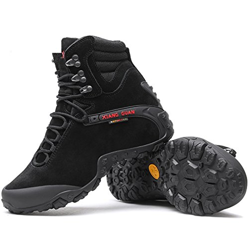 XIANG GUAN Herren Wildleder Wasserdicht Outdoor Wandern Trekkingstiefel Atmungsaktiv Sport Taktisch Combat High-Top Schuhe Schwarz