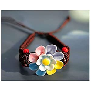 HAND KNEADING AND COLORFUL FLOWERS BRAIDED CERAMIC BRACELET