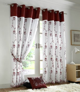 Price comparison product image Ideal Textiles Burgundy Red Eyelet Curtains - Embroidered Lined Voile - Tahiti 56'' x 90