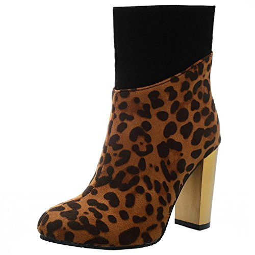 COOLCEPT Damen Mode Chunky High Heel Zipper Stiefeletten Leopard Print Brown