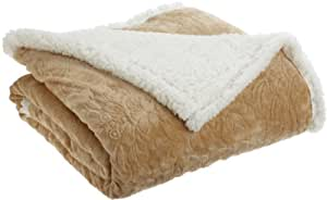 Northpoint Cuddly Regal Microsherpa Throw, Ivory