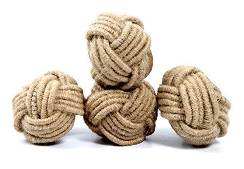 Ramanta Home Handmade, Set of 4 Classic Braided Jute Burlap Napkin Rings (Natural) - Hand Made by Skilled artisans - A Beautiful complement to Your Dinner Table ()