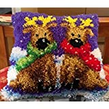 """Latch Hook Complete Cushion Cover Kit""""Reindeer Twins"""" 43x43cm"""