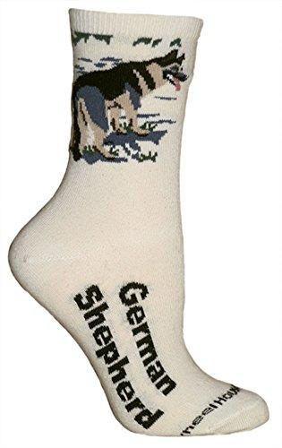 Ultra Lightweight Cotton Dog Breed Crew Socks (German Shepherd)