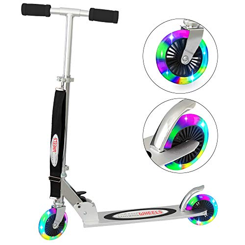 ChromeWheels Scooter for Kids, Deluxe 2 Wheel Kick Scooters 4 Adjustable Height with LED Light Up Wheels, for Age 5 up Girls Boys, 132lb Weight Limit, Black
