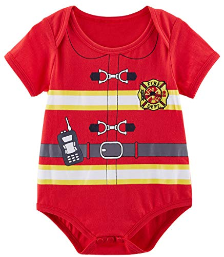 COSLAND Baby Boys' Halloween Costume Fireman Bodysuit (Fireman, 0-3 Months) -