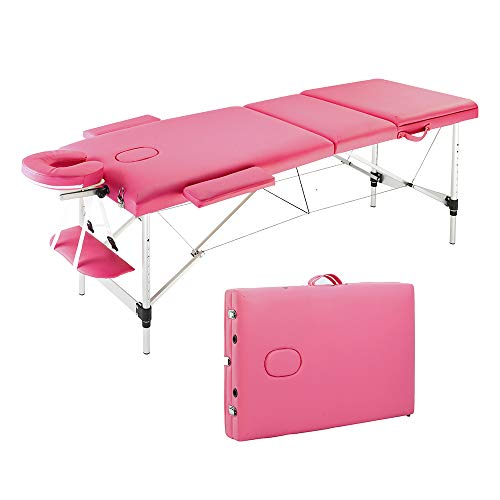 FCH Massage Table 3-Section Portable Folding Massage Table Couch Bed Spa, PVC Leather Surface & Thick Sponge Massage Table for Barber Shop, Beauty Salon, Home. (Pink)