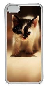 Customized Case Cute cat 3 PC Transparent for Apple iPhone 5C