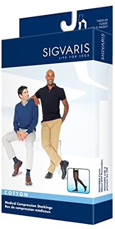 Amazon.com: SIGVARIS Mens COTTON 230 Closed Toe Thigh high w/Grip-Top Compression 20-30mmHg: Health & Personal Care