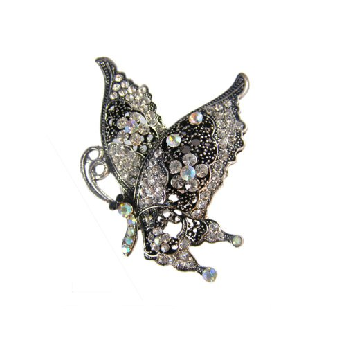 [Twinkle Crystal Metal Ring - Butterfly (White)] (Homemade Gothic Costumes For Women)