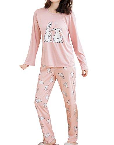 MyFav Big Girls' Cute Couple Rabbits Spring Nightwear Florals Pajamas Sleepwear by MyFav