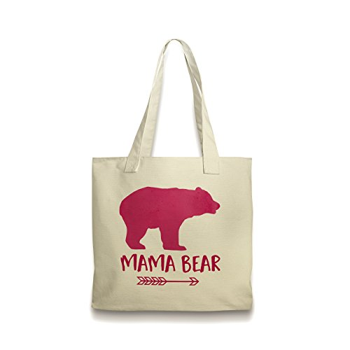 Pink Mama Bear Canvas Tote Bag by Joyful Moose