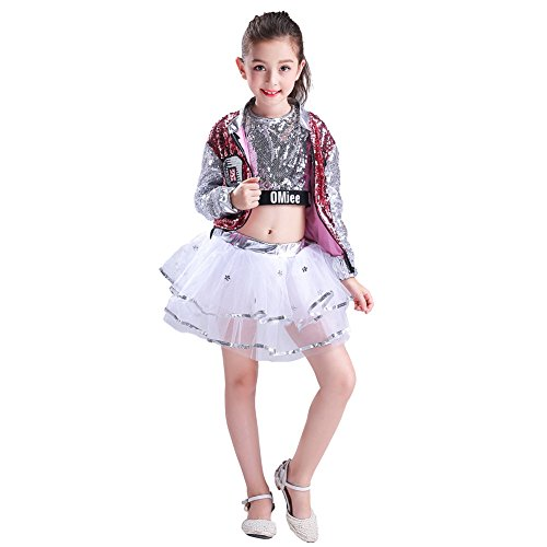 LOLANTA Girls Paillette Glitter Dancewear Hip Hop Jazz Sequin Dance Dress (8-10) by LOLANTA