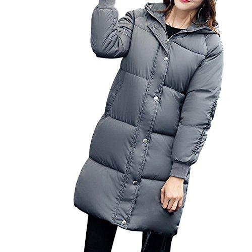 Cappuccio Il Cappotto Inverno Ripiegabile Calda Donne Per Giacca Leggera Lungo Gaorui Grigio Delle Imbottita SdaqPwCn