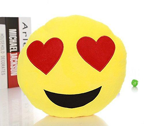 "12"" stuffed short plush iPhone Phone Line QQ MSN Skype Emoticon Expressions Emoji Poop O-shaped neck pillow Cushions nap doll, Round Yellow Heart eye"