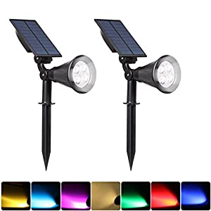 ILIKE Solar Lights Outdoor Bright Adjustable 4 LED Landscape Lights Waterproof 2-in-1 Wall Lights in-Ground Light Security Lighting Dark Sensing Auto On/Off Solar Uplight (White 2Pack(6000K))