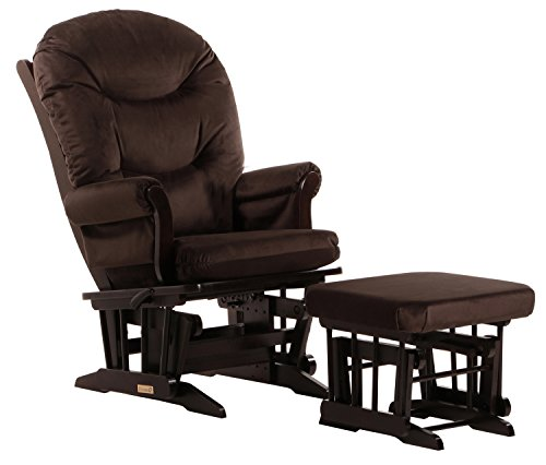 Dutailier Sleigh Glider-Glide/Lock/Recline with Nursing Ottoman, Espresso/Chocolate Brown by Dutailier